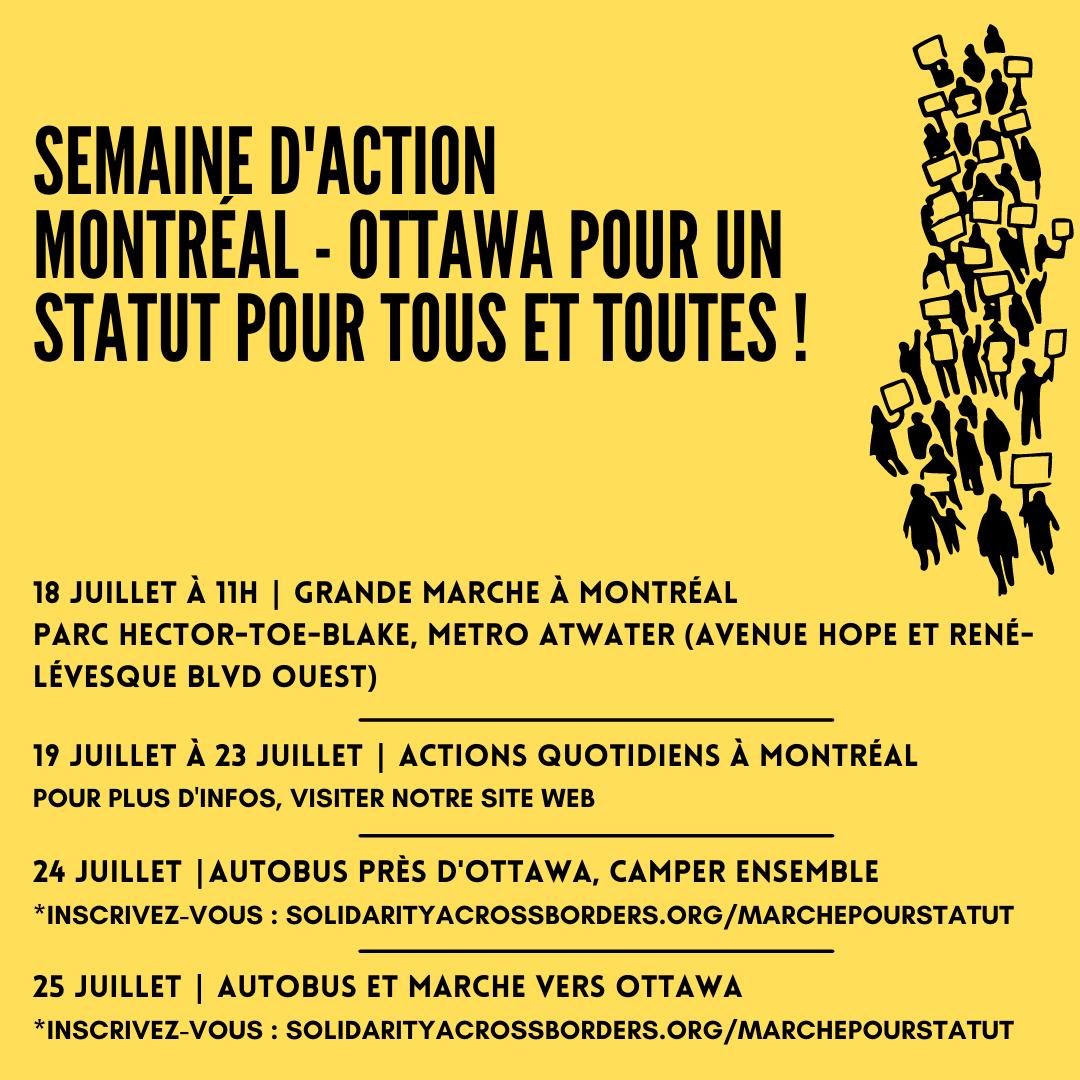 Semaine d'Action Montréal – Ottawa pour un Statut pour tous et toutes !