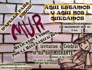 la Journée internationale des migrants avec le collectif Mexicains unis pour la régularisation