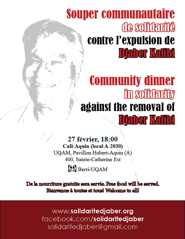 (February 27, 6pm) Community dinner in solidarity with Djaber Kalibi