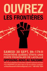 Manif à la frontière Québec-États-Unis: Migrants et réfugiés bienvenu(e)s! Ouvrez les frontières! Opposons-nous racisme!  (30 septembre)