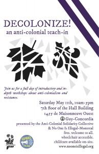 DECOLONIZE! An anti-colonial teach-in