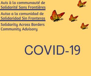 COVID-19 – Aviso a la comunidad de Solidaridad Sin Fronteras
