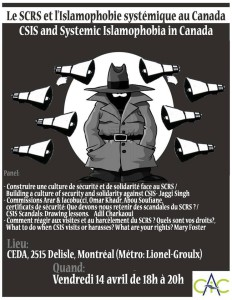 Friday: CSIS and Systemic Islamophobia in Canada (April 14)