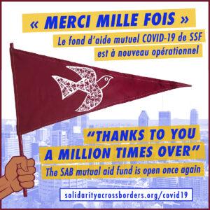 « Un millon de gracias » – Notre fond d'aide mutuel COVID-19 est à nouveau opérationnel