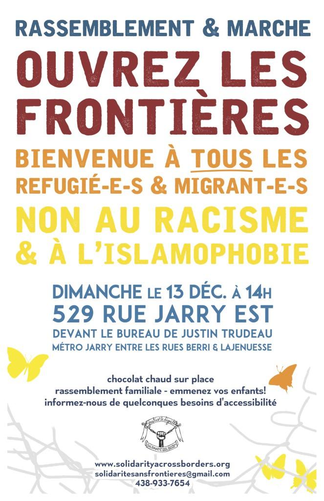 (Rassemblement et marche) Ouvrez les frontières! Bienvenue à tous les réfugié-e-s et migrant-e-s! Non au racisme et à l'islamophobie! (13 décembre)