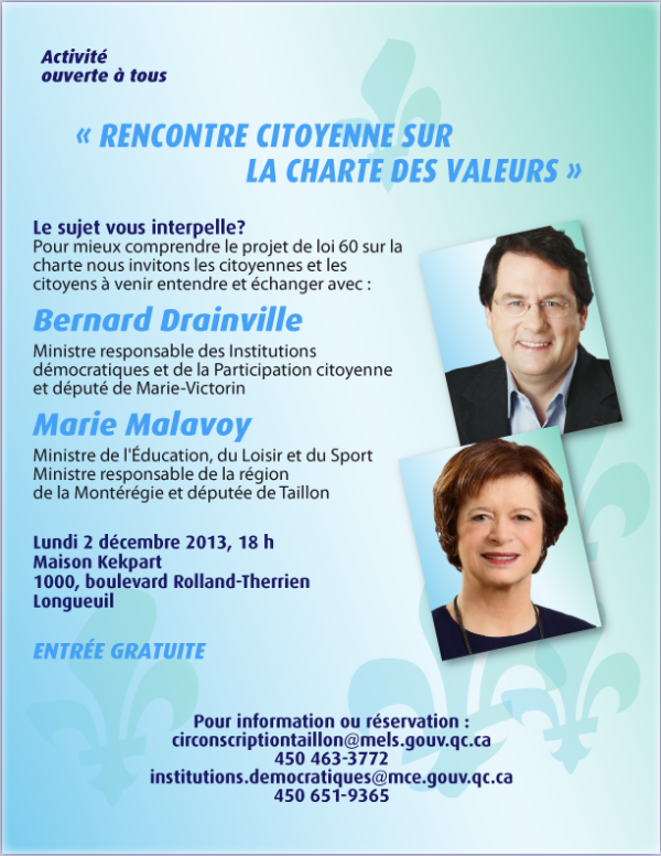 "(December 2) Public Gathering at Education Minister Marie Malavoy & Bernard Drainville's ""Rencontre Citoyenne"""