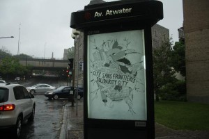 Montreal corporate advertising replaced with political art supporting immigrants & students (Collectif No Borders)