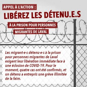 Appel à l'action : Libérez les détenu-e-s!