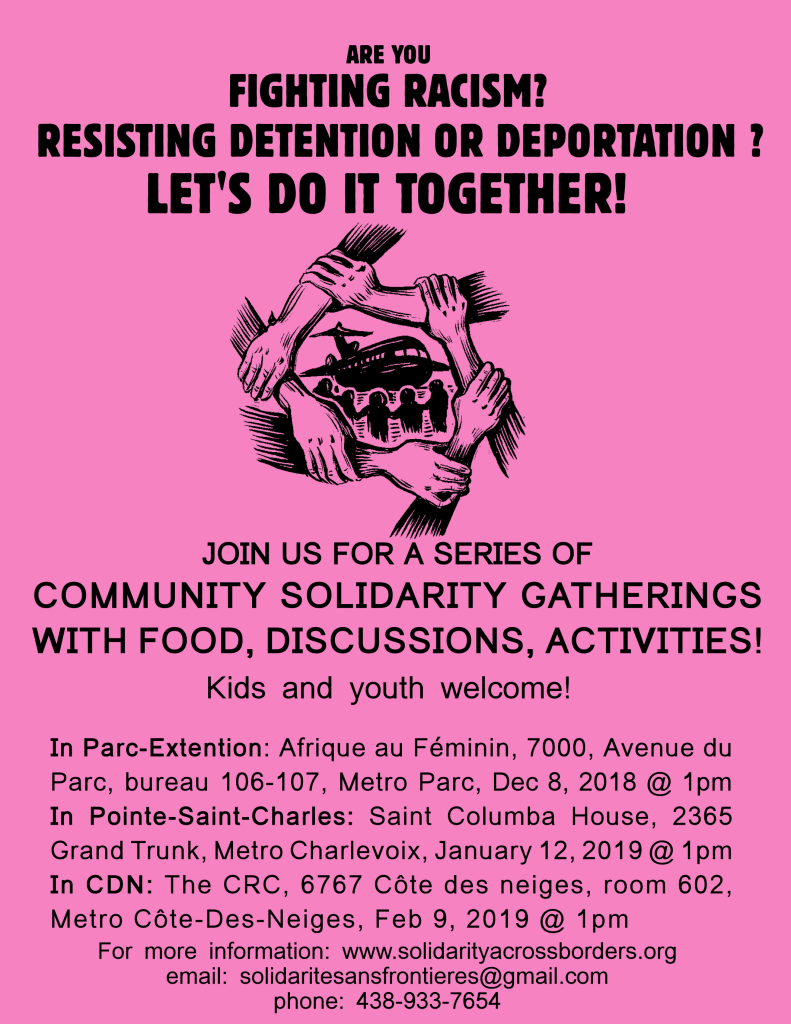 COMMUNITY SOLIDARITY GATHERINGS WITH FOOD, DISCUSSIONS, ACTIVITIES!
