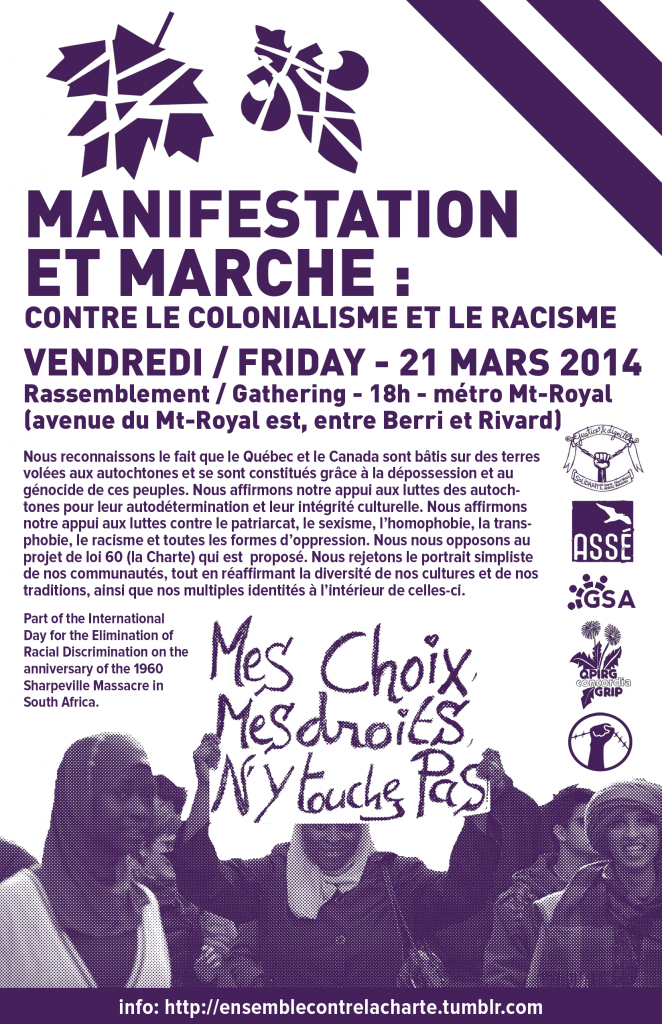 (FRIDAY 6pm) Demonstration and March: Against colonialism, racism and the proposed Quebec Charter of Values (Bill 60)