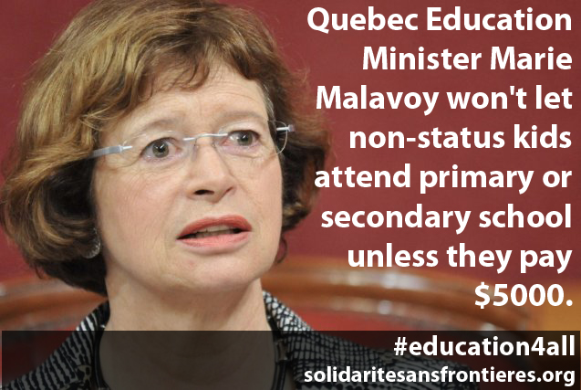 Breaking News: Occupation in progress at Quebec Education Minister constituency office; Protesters are demanding that all non-status children get free access to primary and secondary schools