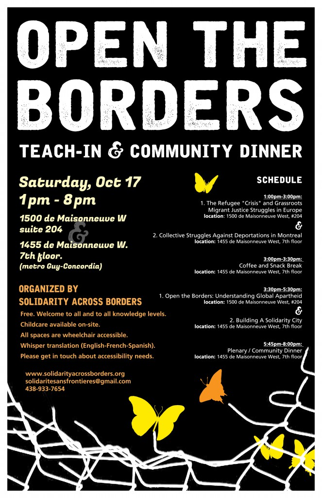 open the borders teach-in poster ENG