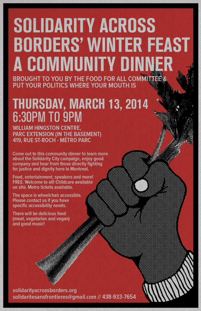 (March 13) Solidarity Across Borders' Winter Feast! A community dinner
