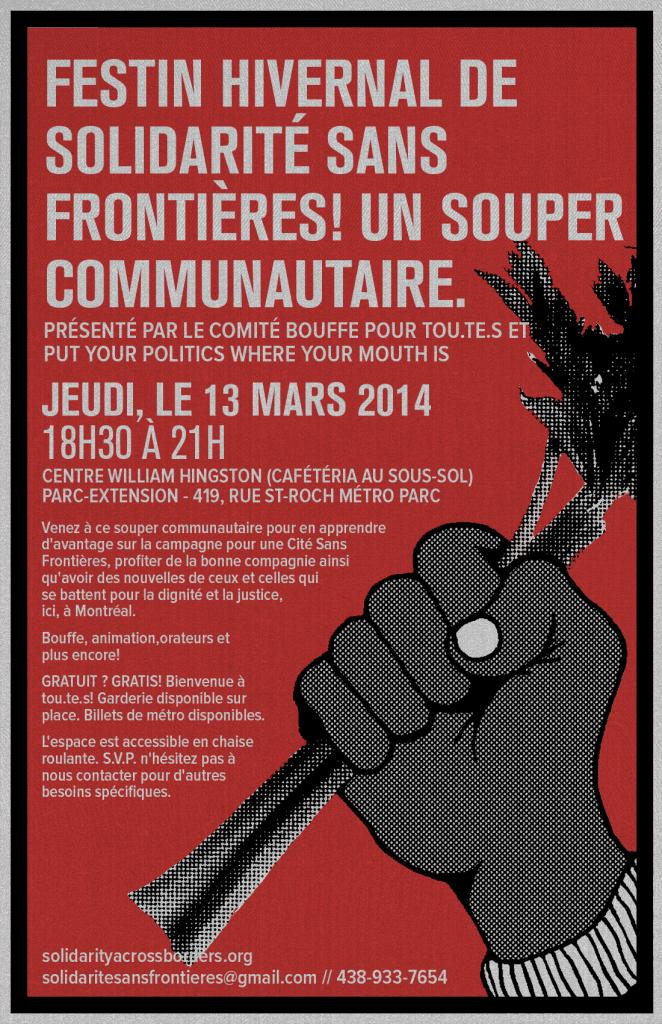 (13 mars) Festin Hivernal de Solidarité Sans Frontières! un souper communautaire