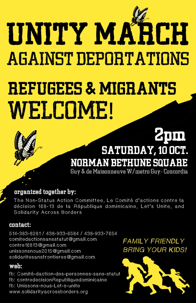 (October 10) UNITY MARCH AGAINST DEPORTATIONS / REFUGEES WELCOME!