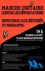 Affiches et tracts pour la Marche Unitaire contre les déportations (svp partagez)
