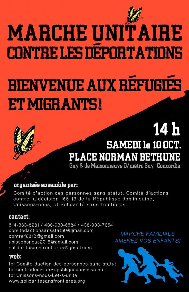 (10 octobre) MARCHE UNITAIRE CONTRE LES DÉPORTATIONS / BIENVENUE AUX MIGRANTS !