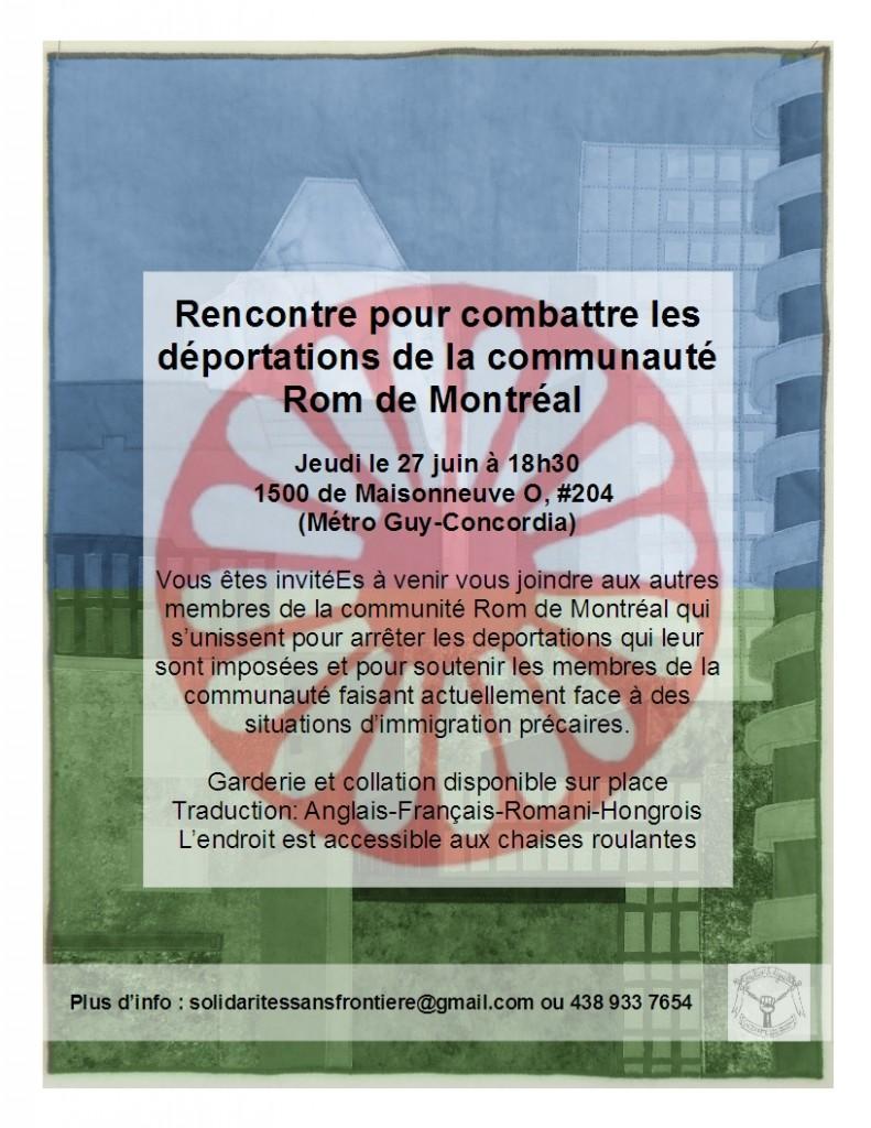 Rencontre pour combattre les déportations de la communauté Rom de Montréal / Rrom protiv deportaciya